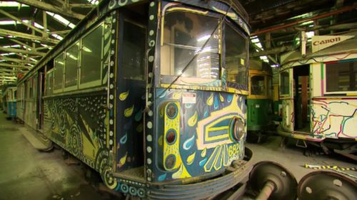 Twenty of the trams have been painted by artists. (9NEWS)