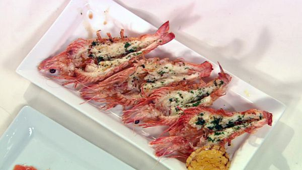 BBQ split prawns with chilli, oregano and olive oil