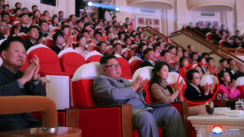 In this Saturday, Jan. 25, 2020, photo provided by the North Korean government, North Korean leader Kim Jong Un, center, claps with his wife Ri Sol Ju, third from right, and his aunt Kim Kyong Hui, second from right, as they attend a concert celebrating Lunar New Year's Day in Pyongyang, North Korea.
