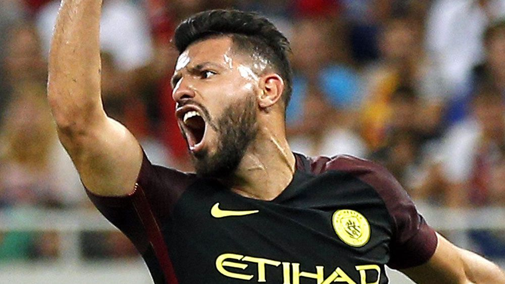 Sergio Aguero missed two penalties but still finished with a hat-trick. (AAP)