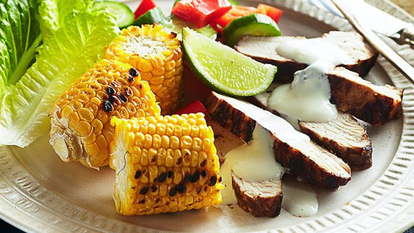 Jerk chicken with barbecued corn