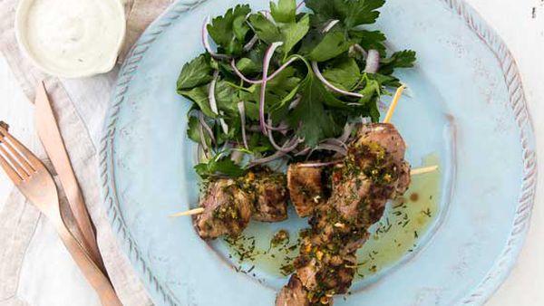 George Calombaris' lamb kalamaki with dill sauce