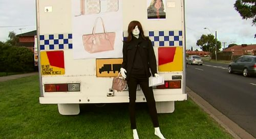 After Karen's disappearance, police set up a road side mannequin showing what she would have looked like at the time of her disappearance. Picture: 9NEWS