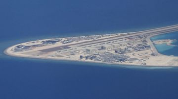 File photo, from 2017, of an airstrip, structures, and buildings on China's man-made Subi Reef.