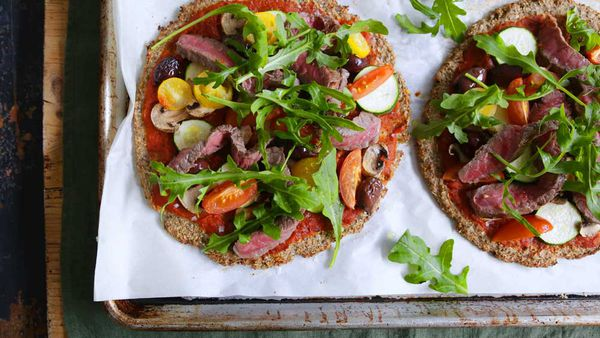 Jacqueline Alwill's cauliflower pizza with sirloin steak and Mediterranean vegetables