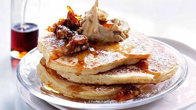 """Recipe:<a href=""""http://kitchen.nine.com.au/2016/05/16/11/53/cinnamon-pancakes-with-whipped-maple-butter-and-candied-walnuts"""" target=""""_top"""">Cinnamon pancakes with whipped maple butter and candied walnuts</a>"""