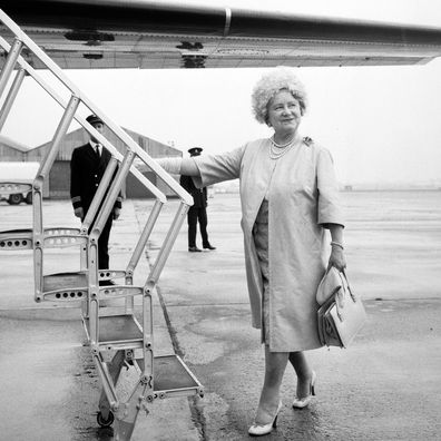 The Queen Mother boarding the plane for her visit to her Caithness residence, the Castle of Mey in 1970.