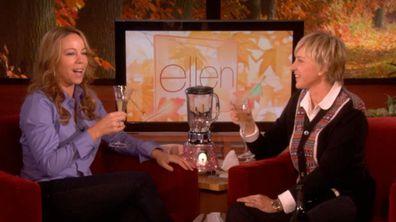 Mariah Carey, Ellen DeGeneres, pregnancy announcement, champagne