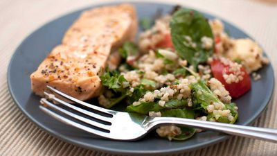 """Recipe: <a href=""""https://kitchen.nine.com.au/2017/04/03/17/35/salmon-with-spinach-and-quinoa-salad"""" target=""""_top"""">Salmon with spinach and red quinoa salad</a>"""