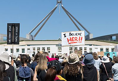 Women's March 4 Justice at Parliament of Australia (Getty)