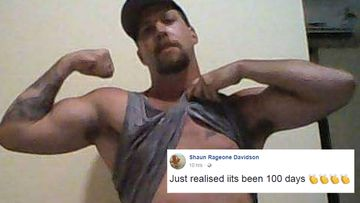 Shaun Davidson has revelled online after evading authorities for 100 days. (Facebook)