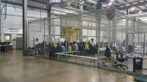 US Customs and Border Patrol showing people inside a United States Border Patrol Processing Center in McAllen, Texas, USA. (AP)