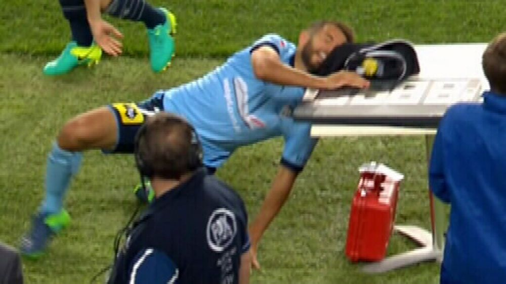 Sydney FC player smashes head into table at A-League match