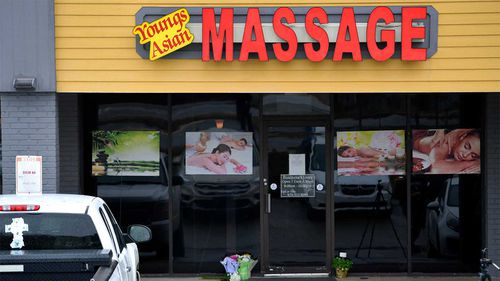 A make-shift memorial is seen outside a massage parlour where several women, mostly Asian, were shot in Atlanta.