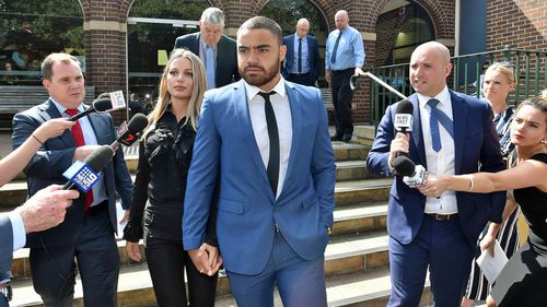 NRL Manly Sea Eagles player Dylan Walker and partner Alexandra Ivkovic left Manly Local Court in Sydney hand in hand after the NRL star pleaded not guilty to two assault charges on December  11.