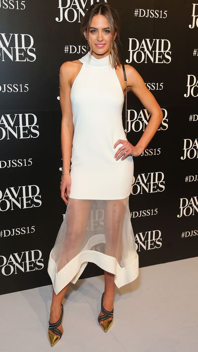 <p>Jesinta Campbell in Camilla and Marc</p>
