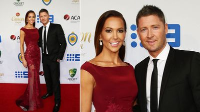 Michael Clarke of Australia and wife Kyly Clarke arrive ahead of the 2015 Allan Border Medal at Carriageworks, Sydney.<br><br>The night sees Australian cricket's highest honour bestowed upon a player for their performances over the preceding 12 months, with pre-count predictions indicating a two-way battle between Steve Smith and David Warner. <br>  <br>However, as with all sports award nights, it's the woman and their fashion choices that will have everyone talking.<br>