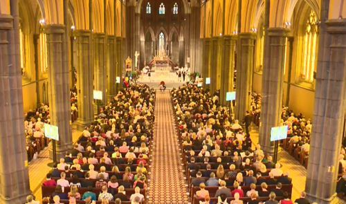 Australia's largest church was chosen to farewell the larger-than-life 74-year-old, with thousands of guests attending.