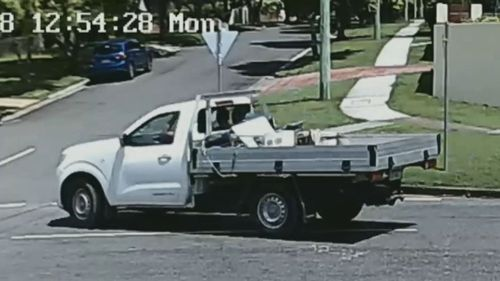 Two thieves have been caught on security camera reversing a use down a Queensland man's driveway, attaching a trailer and driving off (Supplied).