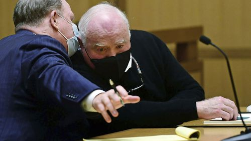 Michael Skakel, right, appears for his hearing at Stamford Superior Court.