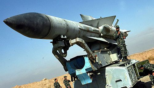 Iranian Army-forces stand around a S-200 surface-to-air missile at an undisclosed location in Iran. (File photo).