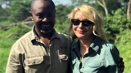 American tourist Kim Endicott, (right) and field guide Jean-Paul Mirenge.