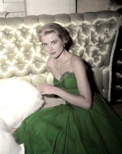Grace Kelly wearing a green dress for St Patrick's Day, 1954.
