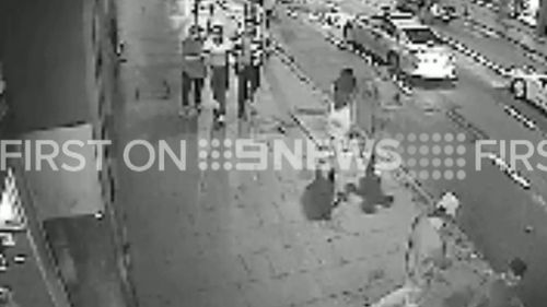 CCTV images show a brawl taking place outside a popular Sydney bar. (9NEWS)
