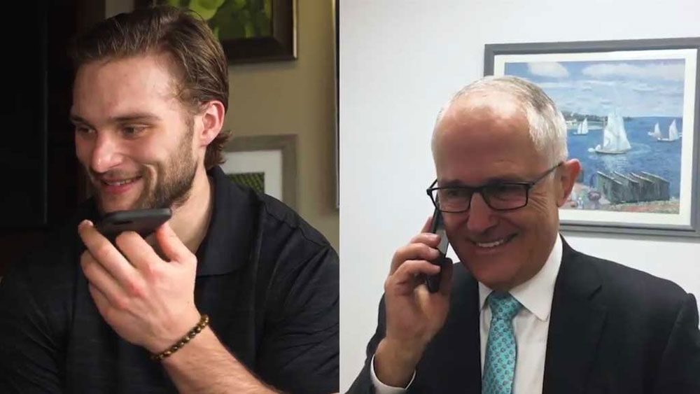 Nathan Walker (left) and Prime Minister Malcolm Turnbull.