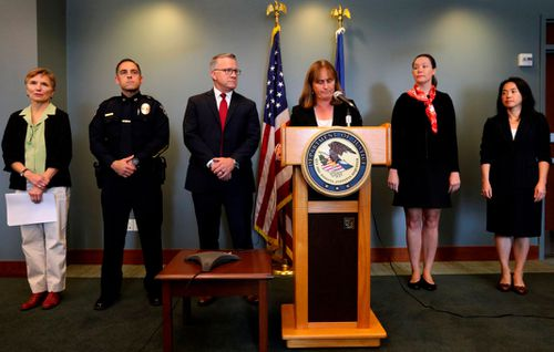 US Attorney Annette Hayes speaks at a news conference on cases filed alleging sexual assault on aircraft, at the US District Court in Seattle.