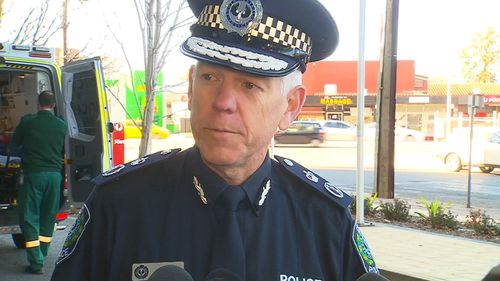 South Australia Police Commissioner Grant Stevens was involved in a first-aid situation at a press conference.