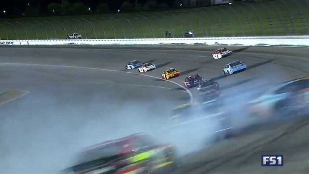 Nascar driver Aric Almirola trapped for 15 minutes with broken back after terrifying crash