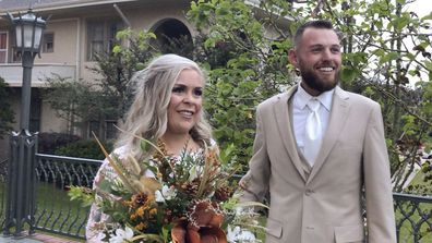 Ian and Taylor Gaspard from Abbeville speak to a reporter after geting married Thursday, October 8, 2020, in Abbeville, Louisiana