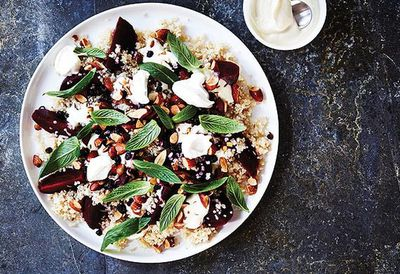 """<a href=""""http://kitchen.nine.com.au/2016/05/05/12/58/quinoa-and-roasted-beetroot-salad-with-mint-smoked-almonds-and-currants"""" target=""""_top"""">Quinoa and roasted beetroot salad with mint, smoked almonds and currants<br> </a>"""