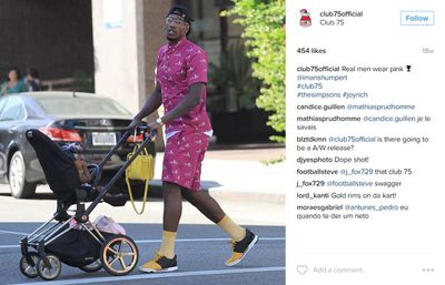 Daddy daycare: American basketballer for the Cleveland Cavaliers, Iman Shumpert pushing his Cybex pram.