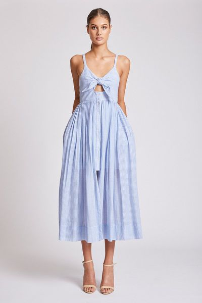 "<em><a href=""https://shonajoy.com.au/products/st-martin-tie-front-midi-dress"" target=""_blank"">Shona Joy St Martin Tie Front Midi Dress, $290 </a></em>"