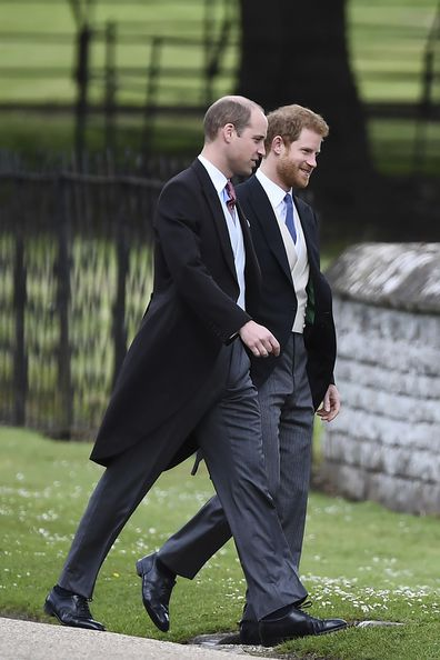 Britain's Prince William, left and Prince Harry, arrive for the wedding of Pippa Middleton and James Matthews at St Marks Church in Englefield, England, Saturday, May 20, 2017.