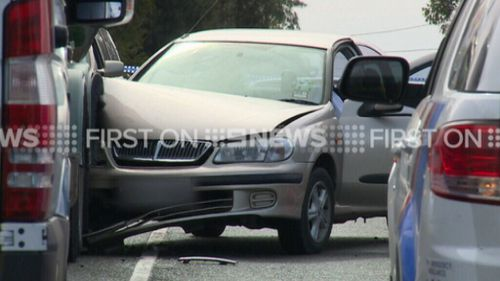 The sedan collided with a truck in Croydon this morning. (9NEWS)