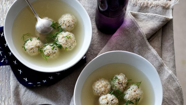 Matzah ball chicken broth