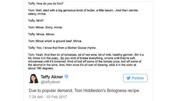 Tom Hiddleston's Bolognese