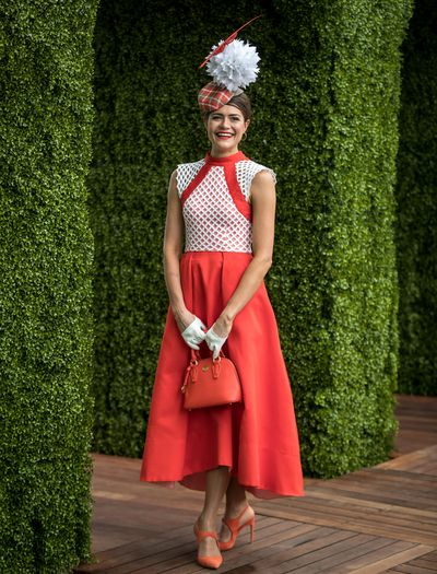 Fashions on the Field winner for Women's racewear Olivia Moor in a dress made by her mother.
