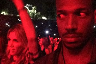 """Oh no! Poor Delta Goodrem. <br/><br/>US comedian Marlon Wayans snapped a now-infamous pic with the """"most unrhythmic white woman"""" (aka D-banger) dancing at a Jay Z and Beyonce concert. <br/><br/>It went viral as soon as fans recognized the Aussie star in the background. Eek! <br/><br/>"""