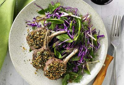 """Recipe:<a href=""""http://kitchen.nine.com.au/2016/05/20/11/08/herb-crusted-lamb-cutlets-with-red-cabbage-and-green-apple-slaw"""" target=""""_top"""" draggable=""""false"""">Herb crusted lamb cutlets with red cabbage and green apple slaw<br /> </a>"""