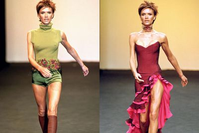 VB's first frolick in the high-fash pool!<br/><br/>In 2000, our fave Spice Girl walked for Maria Grachvogel during London Fashion Week... complete with Kermit-green turtleneck and fuchsia ruffled skirt. <br/>