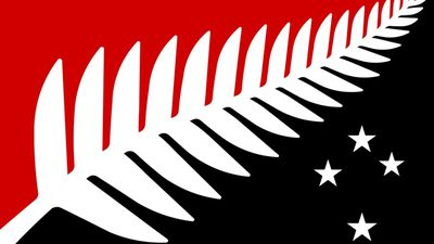 "<p>""The multiple points of the fern leaf represent Aotearoa's peaceful multicultural society, a single fern leaf spreading upwards represents that we are all New Zealanders - one people - growing onward into the future. Southern Cross, represents our geographic location in the antipodes.""</p> <p>Silver Fern Flag by Kyle Lockwood from Wellington. (NZ Government)</p>"