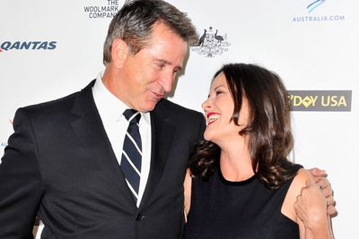 <i>Without a Trace</i> star Anthony LaPaglia with <i>My Big Fat Greek Wedding</i> actress Gia Carides