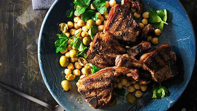 "Recipe:&nbsp;<a href=""http://kitchen.nine.com.au/2016/05/05/14/07/smoked-paprika-lamb-loin-chops-with-chick-pea-and-green-olive-salad"" target=""_top"" draggable=""false"">Smoked paprika lamb loin chops with chick pea and green olive salad</a>"