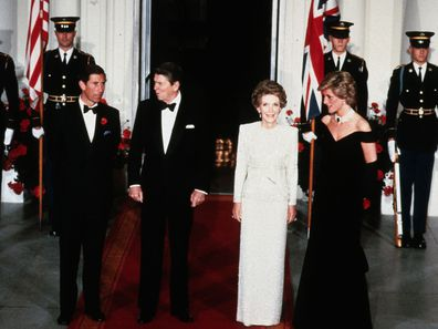 The Prince and Princess of Wales with then-US President Ronald Reagan and First Lady Nancy Reagan in 1985.