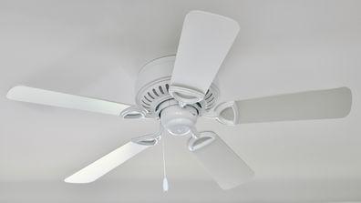A white ceiling fan