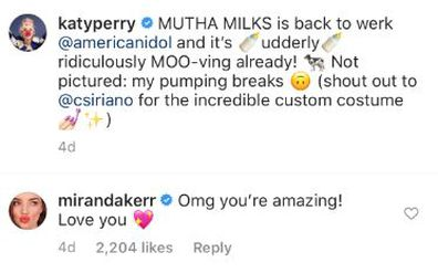 Miranda Kerr, Katy Perry, post, comment, Instagram, back to work, American Idol